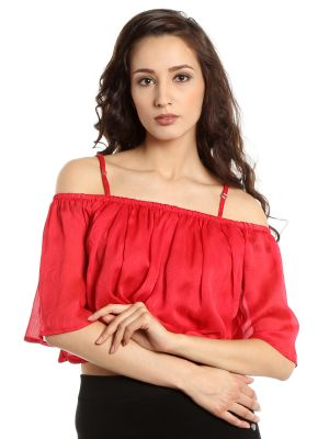 Buy TARAMA Chiffon fabric Red  color Relaxed fit Top for women online
