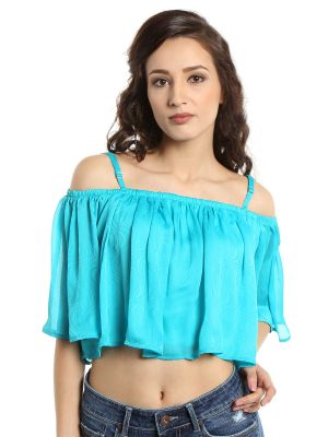Buy Tarama Chiffon Fabric Teal Color Relaxed Fit Top For Women-a2 Tdt1312b online