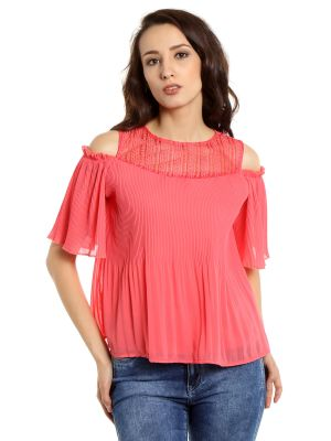 Buy Tarama Georgette Fabric Pink Color Regular Fit Top For Women-a2 Tdt1313a online
