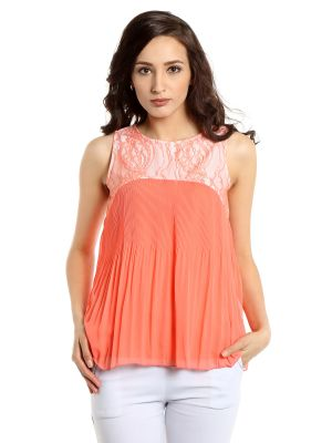 Buy Tarama Georgette Fabric Pink Color Regular Fit Top For Women-a2 Tdt1314a online