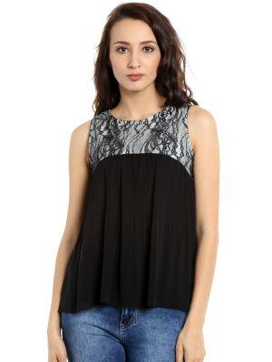 Buy Tarama Georgette Fabric Black Color Regular Fit Top For Women-a2 Tdt1314b online