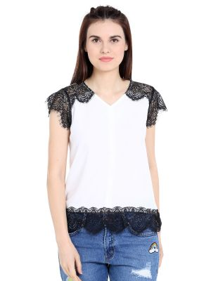 Buy Tarama Crepe Fabric Off White Color Regular Fit Top For Women-a2 Tdt1315 online
