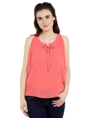 Buy TARAMA Georgette fabric Coral color Relaxed fit Top for women online