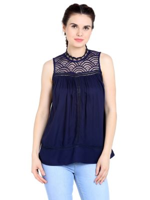 Buy TARAMA Rayon fabric Navy Blue color Regular fit Top for women online