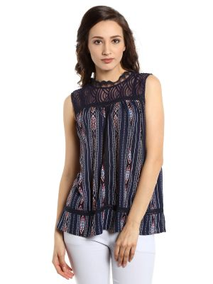 Buy Tarama Rayon Fabric Navy Blue Color Regular Fit Top For Women-a2 Tdt1321 online