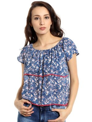 Buy TARAMA Rayon fabric Blue color Relaxed fit Top for women online