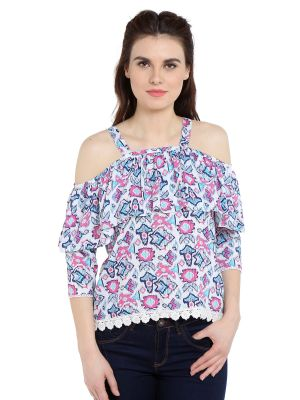 Buy TARAMA Rayon fabric Blue color Regular fit Top for women online
