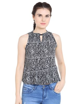 Buy TARAMA Crepe fabric Black & White color Regular fit Top for women online
