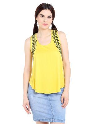 Buy TARAMA Viscose  fabric Yellow color Regular fit Top for women online