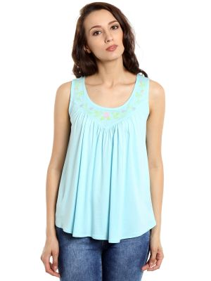 Buy Tarama Viscose Fabric Baby Blue Color Relaxed Fit Top For Women-a2 Tdt1351a online