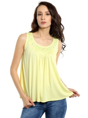 Buy TARAMA Viscose  fabric Lemon Yellow color Relaxed fit Top for women online