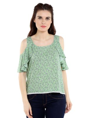 Buy TARAMA Rayon fabric Green color Regular fit Top for women online