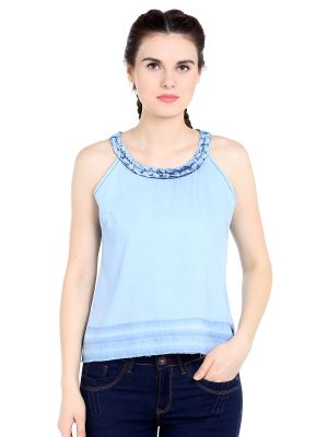 Buy TARAMA Cotton fabric Ice Blue color Regular fit Top for women online
