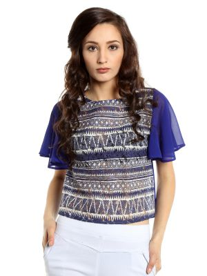Buy TARAMA Lace fabric Blue color Regular fit Top for women online