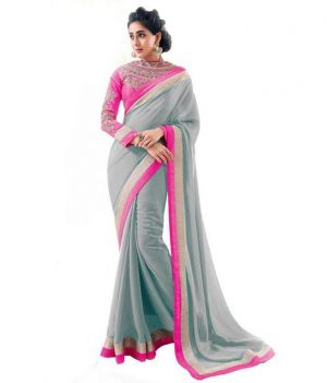 Buy Kalazone Grey Faux Georgette Party Wear Saree - (product Code - S11820_s3) online