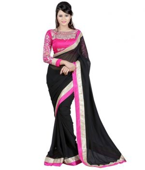 Buy Kalazone Black Faux Georgette Party Wear Saree - (product Code - S11968_s3) online