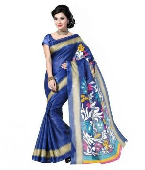 Buy Nilkanth Blue Printed Bhagalpuri Silk Printed Saree With Blouse online