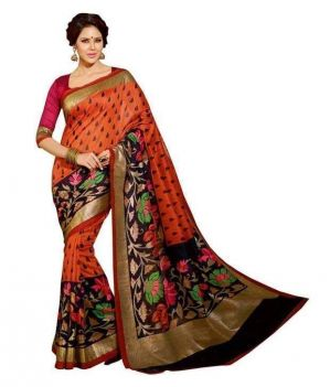 Buy Nilkanth Orange Printed Bhagalpuri Silk Printed Saree With Blouse - (product Code - Ssc005-maroon-chappa) online