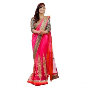 Buy Kalazone Orange Color Net Fabric Embroidered Party Wear Designer Saree_s11719_s3_n online