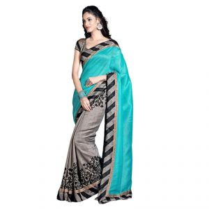 Buy Kalazone Blue Color Bhagalpuri Cotton Casual Wear Saree online