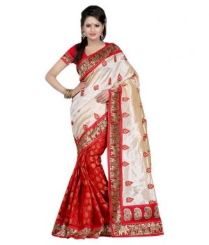 Buy Ramapir Fashion Red Cream Hathi Ghod Saree Hathi Ghoda Saree online