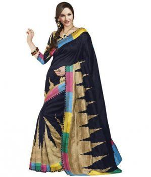 Buy Styloce Black Bhagalpuri Saree online