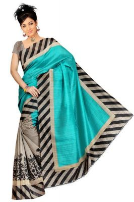 Buy Nilkanth Turquoise Printed Bhagalpuri Silk Saree With Blouse - (product Code - Mf001-0029) online
