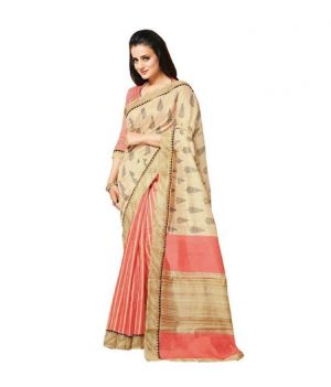 Buy Nilkanth Beige Printed Bhagalpuri Silk Saree With Blouse - (product Code - Mf001-0053) online
