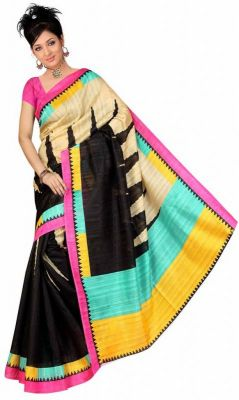 Buy Nilkanth Black Printed Bhagalpuri Silk Saree With Blouse - (product Code - Mf001-0056) online