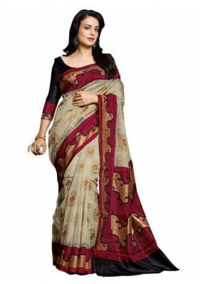 Buy Kalazone Brown Cotton Casual Wear Saree - (product Code - Es1452) online