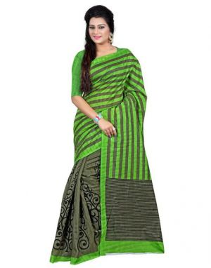 Buy 7n7 Bhagalpuri Saree Silk Printed (black&green) online