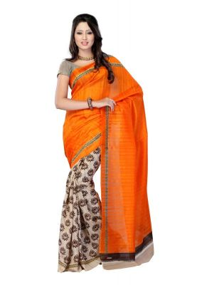 Buy Styloce Orange Color Art Silk Printed Casual Deasigner Saree With Blouse-(code-sty-8756) online