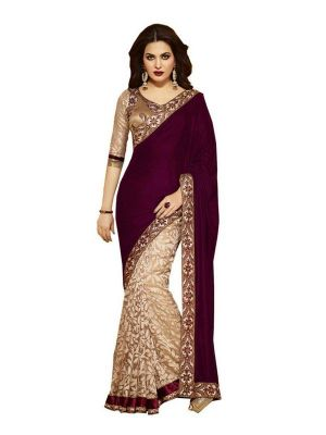 Buy Fabliva Latest Attractive Wine Pink And Beige Designer Saree online
