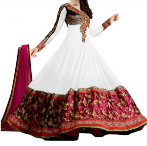 Buy Ramapir Fashion White Red Gold Embroidered Georgette Dress White Red Gold Dress online