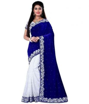 Buy Ramapir Fashion Blue White Velvet Net Saree Blue White Velvet Saree 1 online