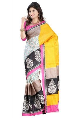 Buy Nilkanth Beige And Pink Printed Bhagalpuri Silk Printed Saree With Blouse - (product Code - Ssc00610-new-maysur-print) online