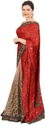 Buy Adorn Fashion Fancy Stylist Dipika Padukon Red Georgette Saree online