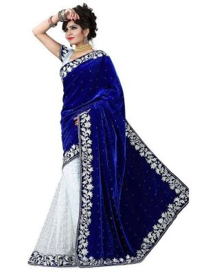 Buy Shubahm Blue And White Designer Saree - Sc_33 online
