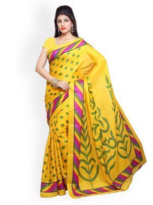 Buy Styloce Yellow Bhagalpuri Art Silk Saree online