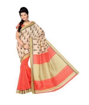 Buy Styloce Beige And Orange Bhagalpuri Silk Designer Saree online