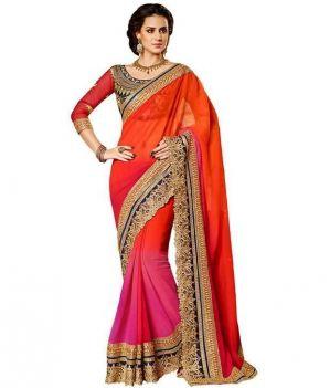 Buy Shree Plus Pink And Orange Embroidery Work Designer Saree online