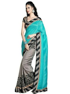 Buy Florence Sky Blue With Grey Bhagalpuri Silk Printed Saree With Blouse _fl-uc-1047 online