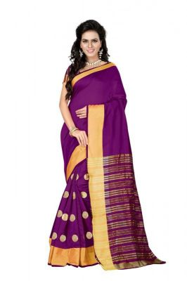 Buy Mahadev Enterprises Purple Colour Cotton Jari Embroidered Work Saree With Unstiched Blouse Pics Meg03 online
