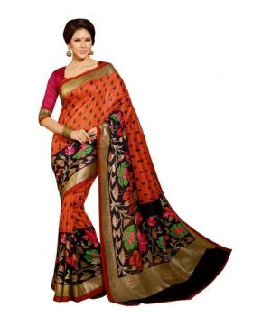 Buy Kasturi Orange Bhagalpuri Silk Saree online