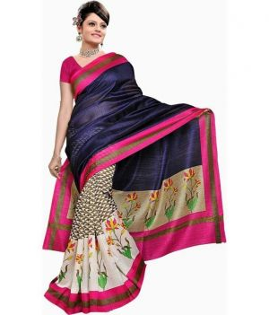 Buy Fabfiza Blue And Cream Cotton Designer Saree online