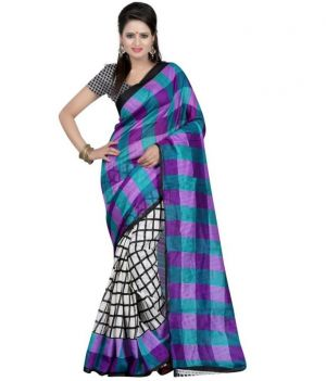Buy Fabfiza Purple And White Cotton Designer Saree online