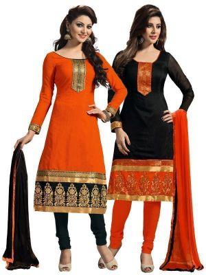 Buy Shonaya Set Of 2 Black & Orange Printed Chanderi Cotton Dress Material online