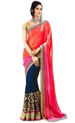 Buy Florence Orange With Pink Georgette Embroidered Saree With Blouse online