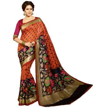 Buy Ramapir Fashion Orange Black Printed Bhagalpuri Silk Saree Orange Bgl Saree online