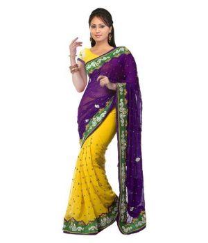Buy Ramapir Fashion Yellow Purple Chiffon Saree- Yellow Purple Saree. online